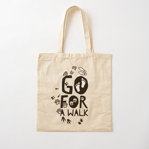 Go for a walk, footprints  Cotton Tote Bag