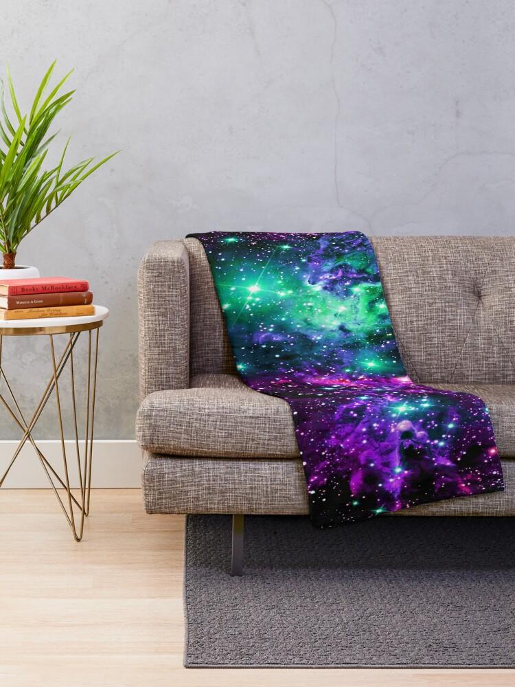 Alternate view of Fox Fur Nebula Mint Purple Pink Throw Blanket