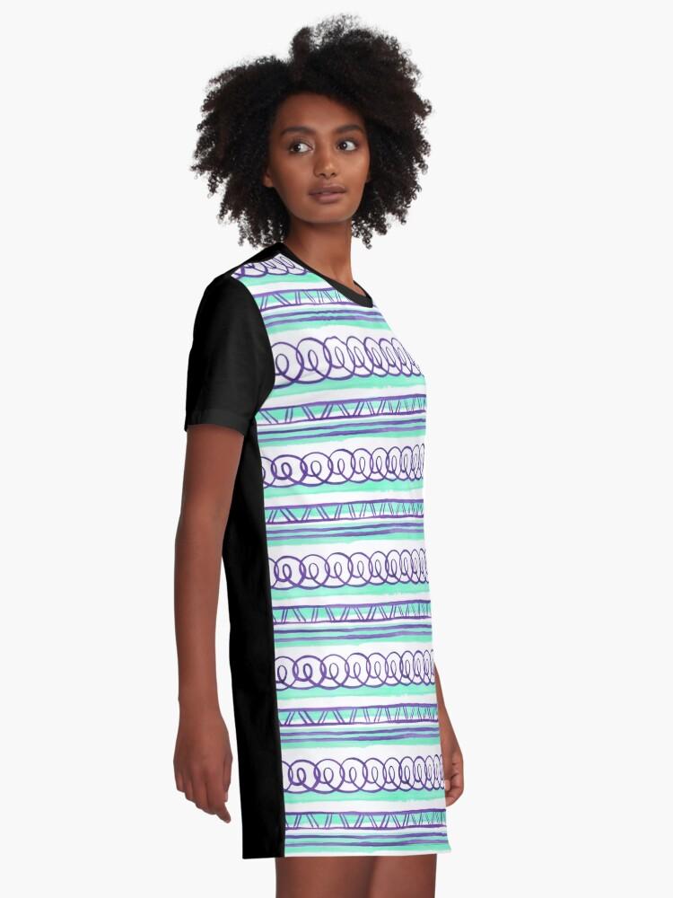 Alternate view of @@@ -- Violet & Sea Foam Graphic T-Shirt Dress