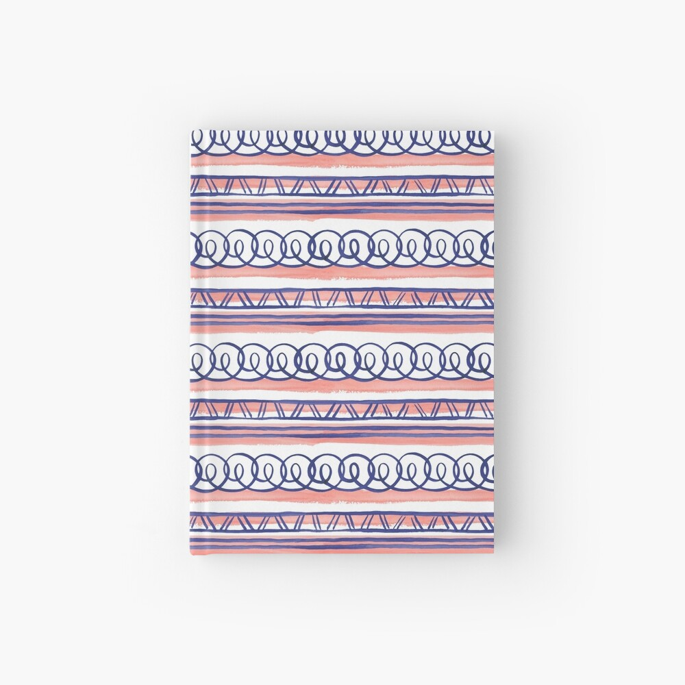 @@@ -- Navy & Coral Hardcover Journal