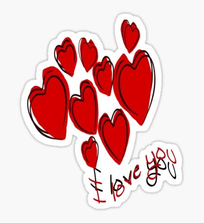 I Love You Greetings With Hearts Sticker