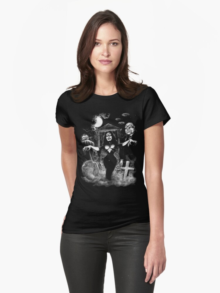 Vampira Plan 9 zombies Womens T-Shirt Front