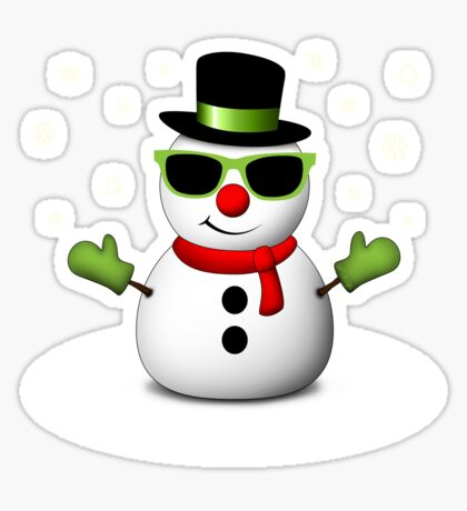 Cool Snowman with Shades and Adorable Smirk Sticker