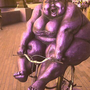 Fat Lady Statue on Bike by johandahlberg