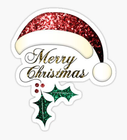 Merry Christmas Santa hat with red, gold and green sparkles Sticker