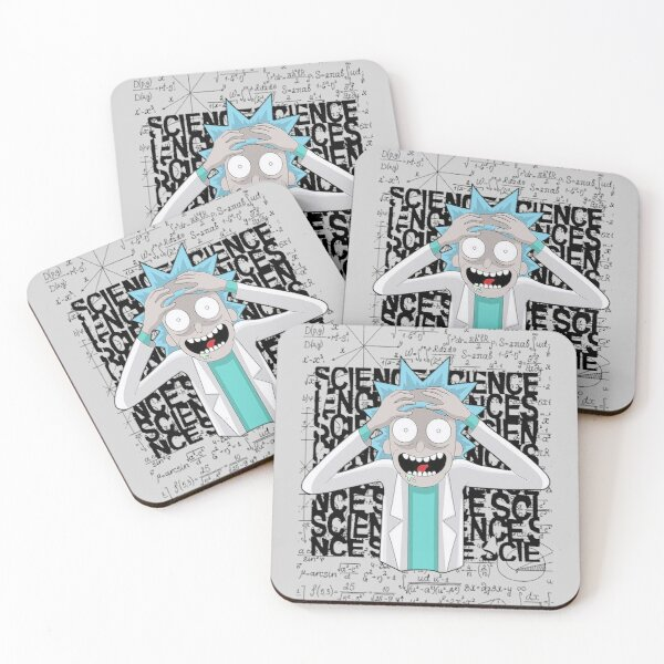 Rick Genius Crazy, Crazy about science | Rick Crazy Genius | Rick and Morty inspired design Coasters (Set of 4)