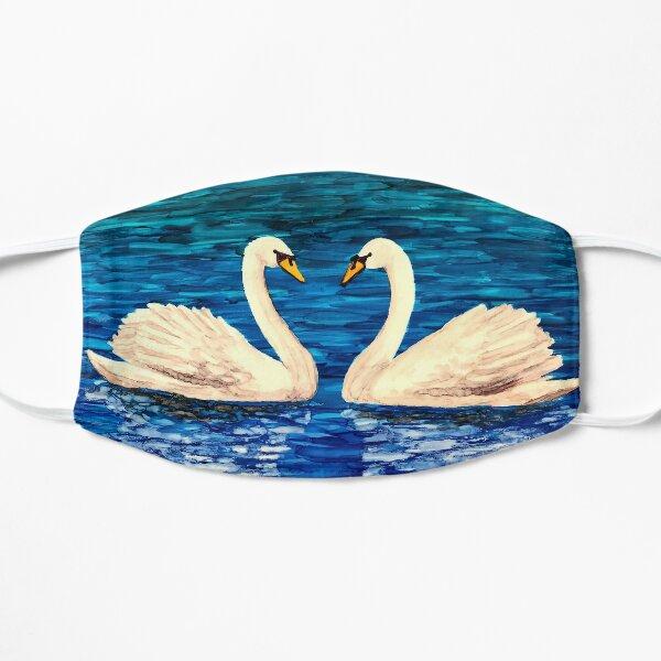 Love Birds in Swan Lake Flat Mask