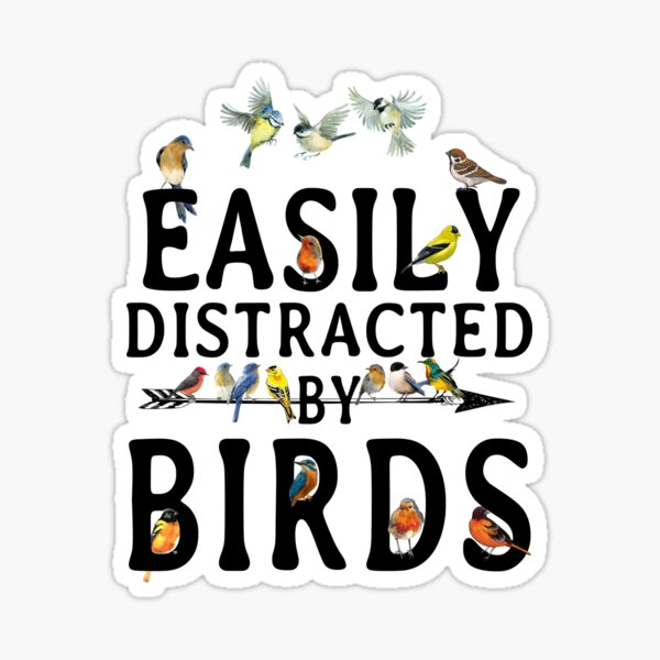 Easily Distracted by Birds Sticker