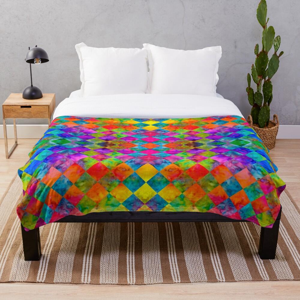 Harlequin Tie-Dye Throw Blanket