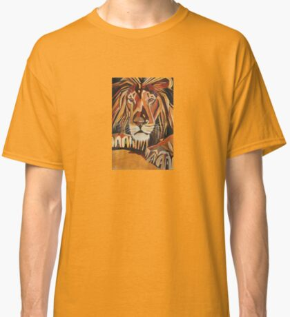 Relaxed Lion Portrait in Cubist Style Classic T-Shirt