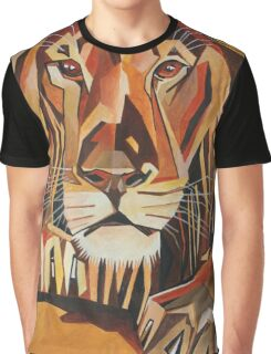 Relaxed Lion Portrait in Cubist Style Graphic T-Shirt