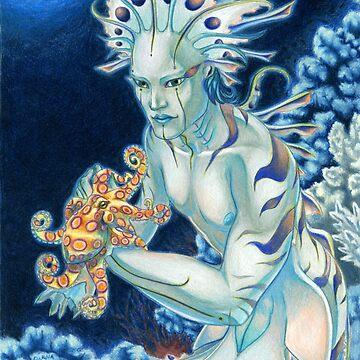Merman with Octopus by GoldeenHerself