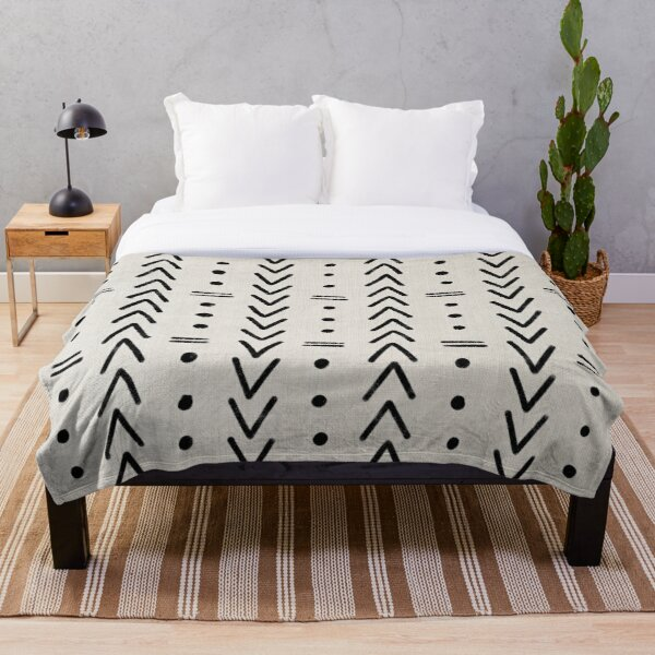 Mudcloth Black Geometric Shapes in White  Throw Blanket
