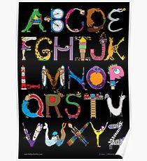 Children's Alphabet (black background) Poster
