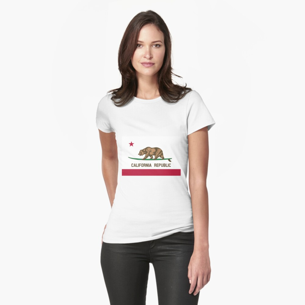 Surfing California Bear Fitted T-Shirt