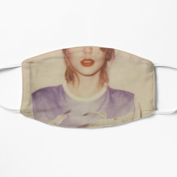 lady with red lipstick album cover face mask Flat Mask