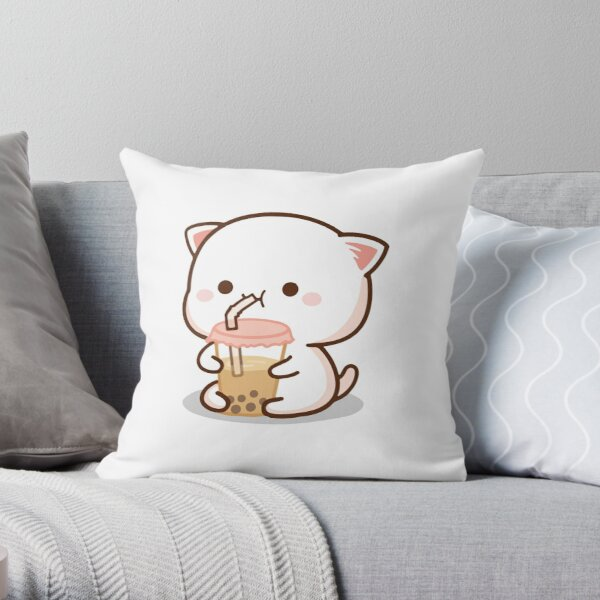 Peach and Goma Mochi Cat Bubble Tea Throw Pillow