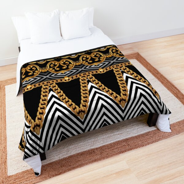Golden ornamental baroque with black and white geometric zigzag Comforter