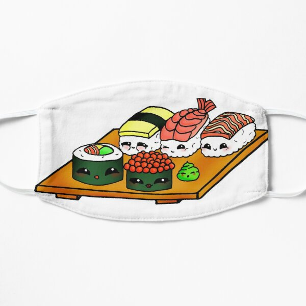 Tabla de sushi Kawaii - Tu sushi favorito estilo anime Mascarilla