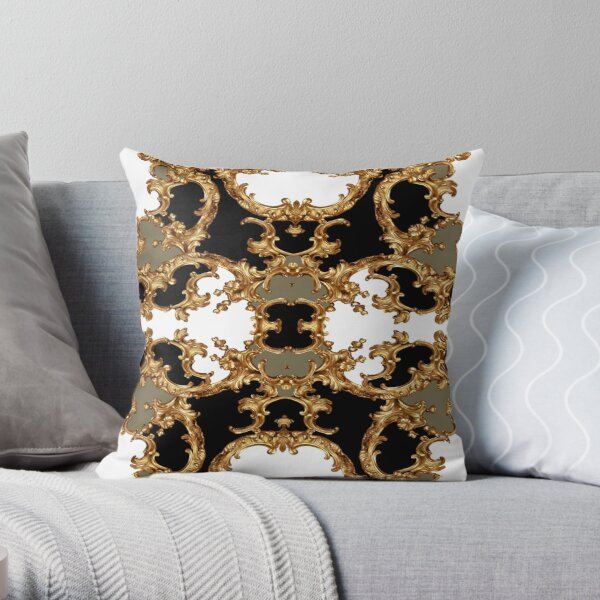 Golden ornamental baroque symmetrical Throw Pillow