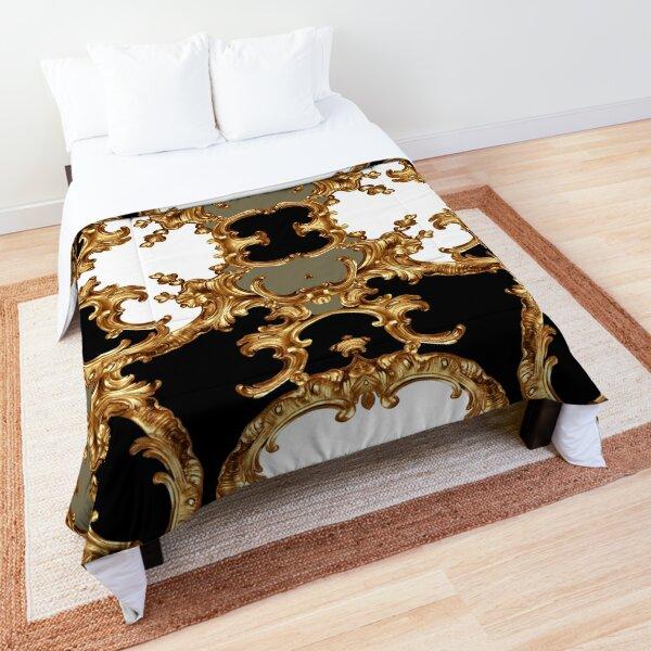 Golden ornamental baroque symmetrical Comforter