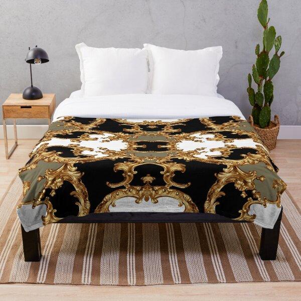Golden ornamental baroque symmetrical Throw Blanket