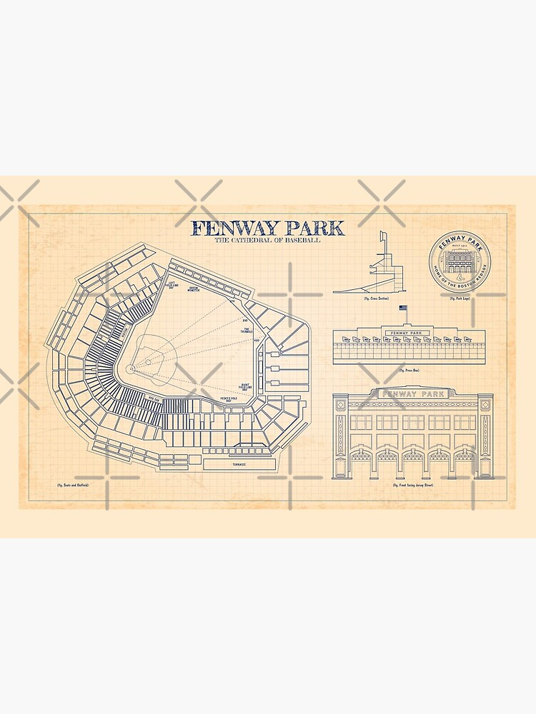Fenway Park The Cathedral Of Baseball Old Blue Grid Art Board Print By Bgalaxy Redbubble