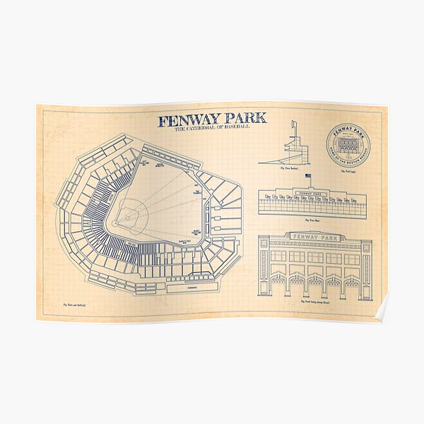 Fenway Park. The Cathedral of Baseball (Old Blue Grid) Poster