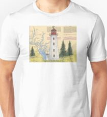 Cape Mudge Lighthouse BC Canada Nautical Map Cathy Peek Unisex T-Shirt