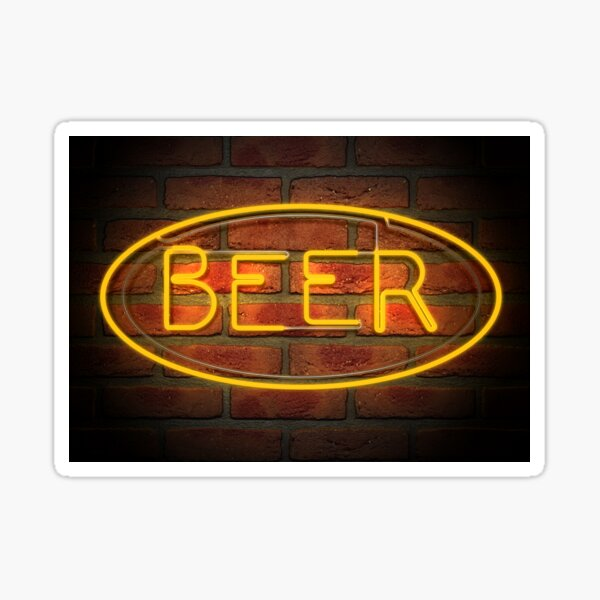 Neon Beer Sign on A Face Brick Wall Sticker