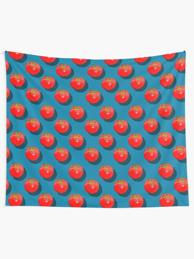 Alternate view of Tomatoes Fruit - Dark Blue background Tapestry
