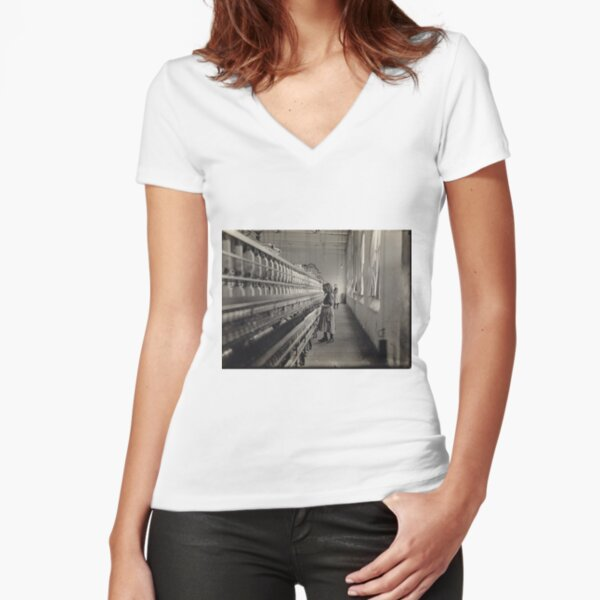 Famous Historical Photo Fitted V-Neck T-Shirt