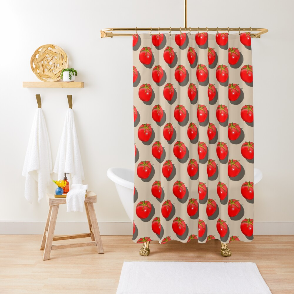 Tomatoes Fruit - Light background Shower Curtain