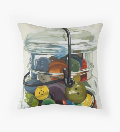 Old Button Jar - still life oil painting Throw Pillow