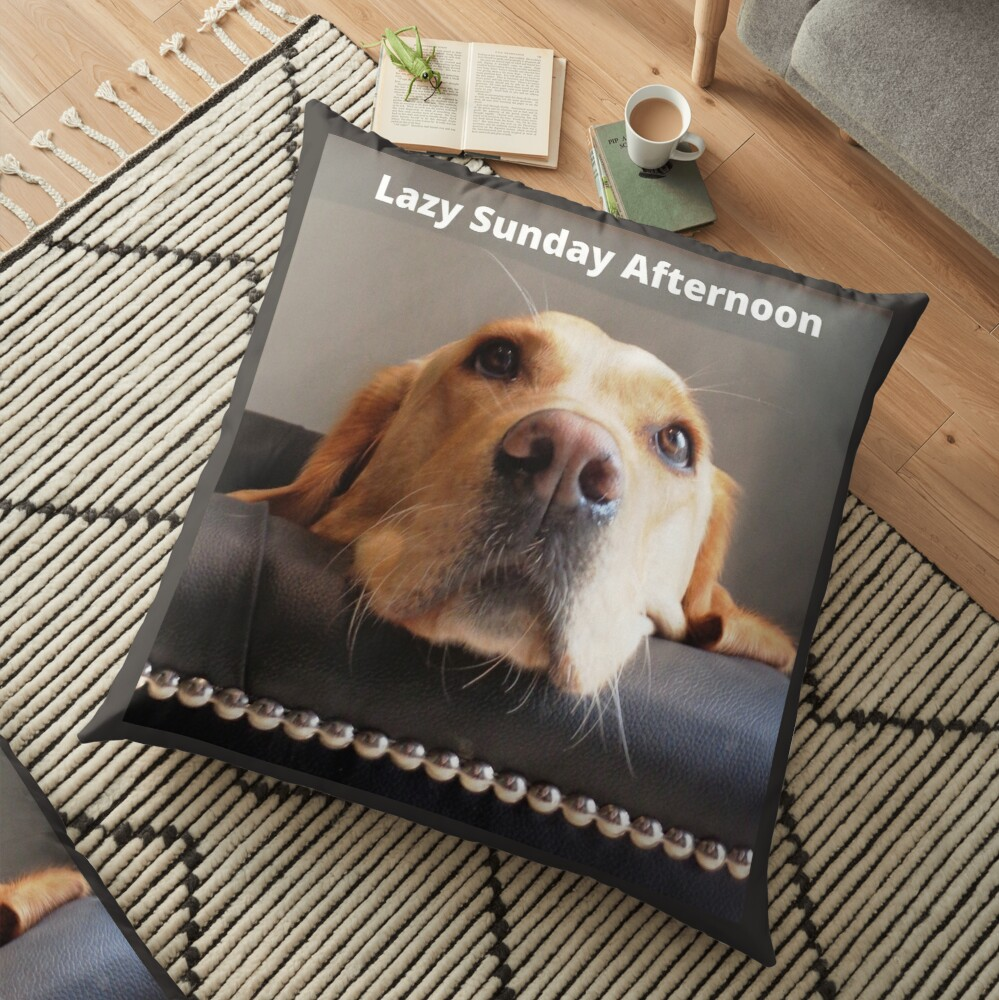 Lazy Sunday Afternoon, dog image. Floor Pillow