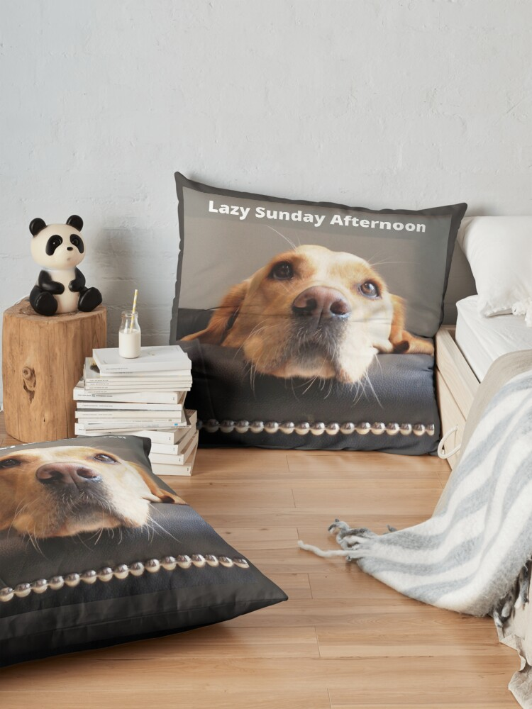 Alternate view of Lazy Sunday Afternoon, dog image. Floor Pillow
