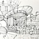 Razzo cafe sketch by Peter Lusby Taylor