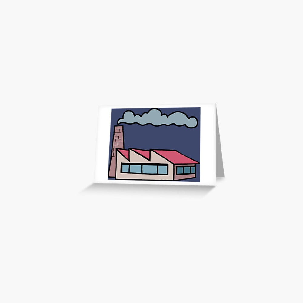 factory building and a smoking chimney Greeting Card