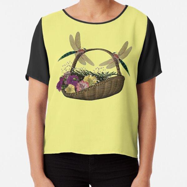 Dragonflies Wicker Flower Basket  Chiffon Top