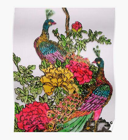 Peacocks amidst Peonies Poster
