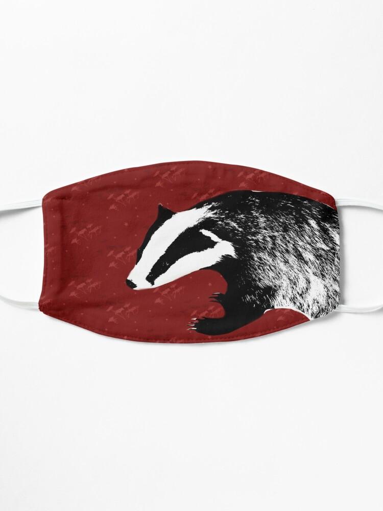 Alternate view of Badger on botanical red pattern Mask
