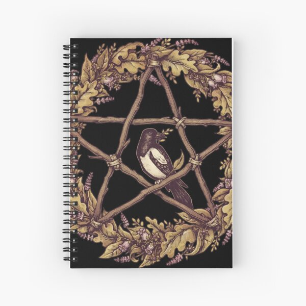 Botanical Pentacle Wreath Witch Spiral Notebook