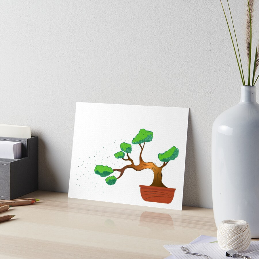 Hanging Bonsai Tree Colored Art Board Print By The Red Wizard Redbubble