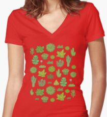 Succulents Women's Fitted V-Neck T-Shirt