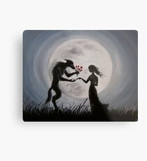 Wolf With The Red Roses Metal Print