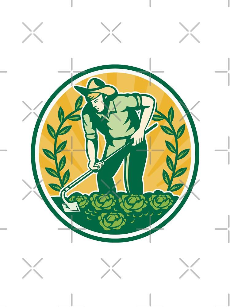Farmer Gardener With Garden Hoe Cabbage by patrimonio
