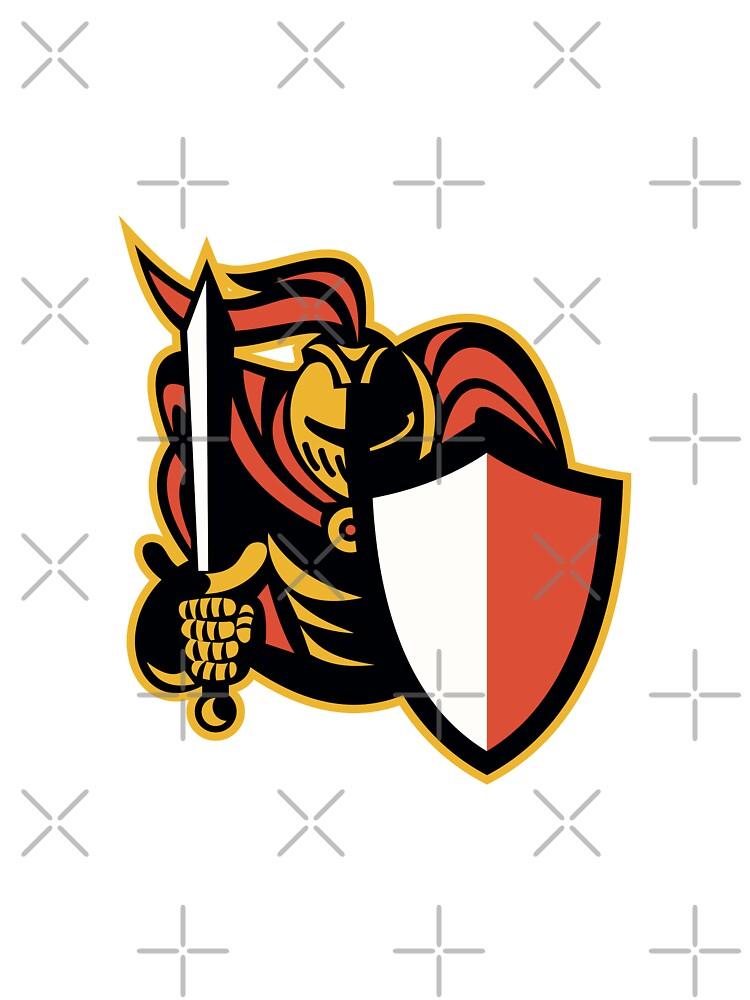 Knight With Sword And Shield Retro by patrimonio