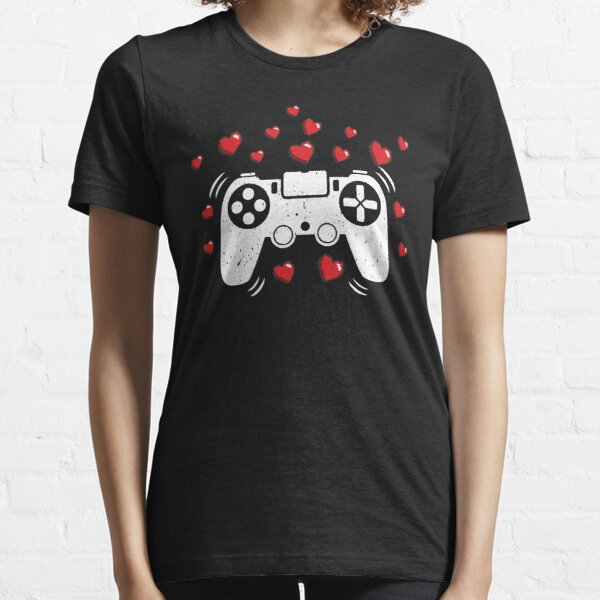 Gamer Heart Controller St Valentine's Day Cute Hearts Gift for Video Games Lover  Essential T-Shirt