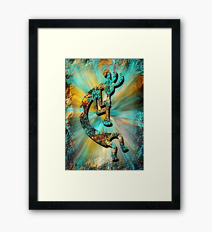 Kokopelli Turquoise and Gold Framed Print