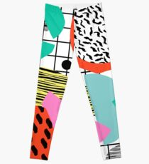 Posse - 1980's style throwback retro neon grid pattern shapes 80's memphis design neon pop art Leggings